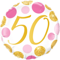 50 Pink & Gold Dots Balloon in a Box