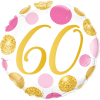 60 Pink & Gold Dots Balloon in a Box
