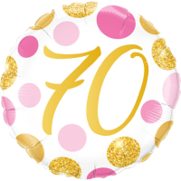 70 Pink & Gold Dots Balloon in a Box