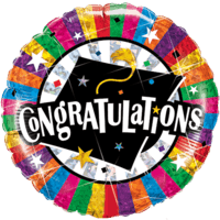 Congratulations Grad Cap Rainbow Stripes Balloon in a Box