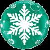 """18"""" Green White Snowflake Balloon overview"""