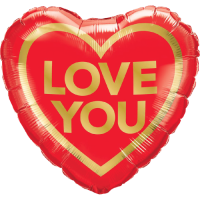 Love You Golden Heart Balloon in a Box