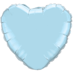 "18"" Pearl Light Blue foil Heart Balloon Product Display"