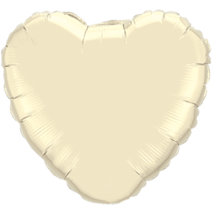 "18"" Pearl Ivory foil Heart Balloon Product Display"