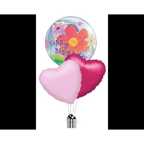 Bubble Happy Birthday Flower & Hearts