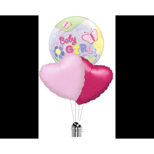 Bubble Baby Girl & Hearts