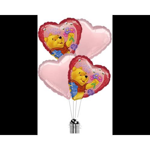 Pooh Love Flowers & Hearts
