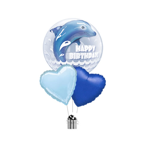 Happy Birthday Double Bubble Dolphin Bouquet