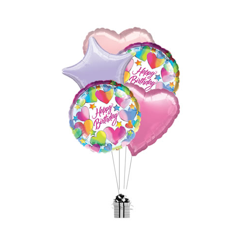 Happy Birthday Pink Stars and Hearts