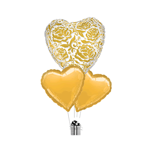 Gold Crystal Hearts and Flowers