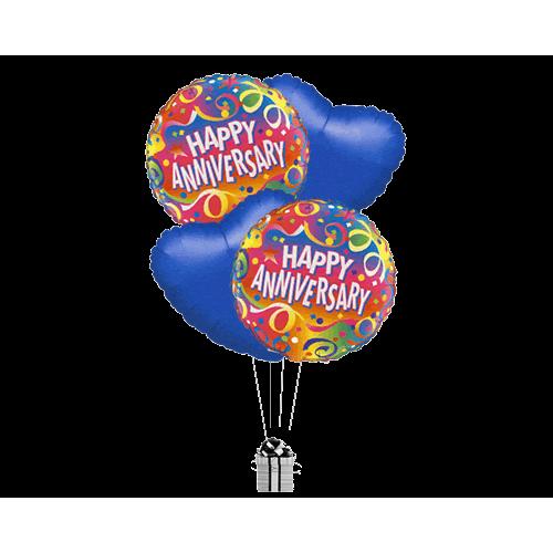 Happy Anniversary Streamers & Blue Hearts