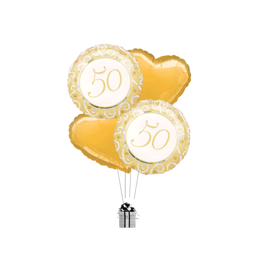 Golden 50th Hearts